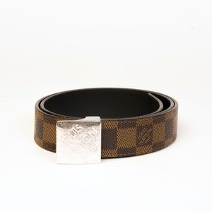 LOUIS VUITTON DAMIER EBENE BELT WITH SILVER BLOCK